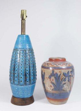 Blue Pottery Lamp & Blue Pottery Vase