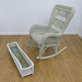 Heywood Wakefield Wicker Chair & Window Basket