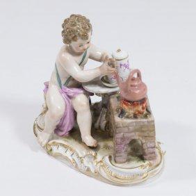 Meissen Porcelain Figure Of Cherub Making Tea