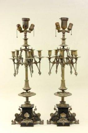 Pair Renaissance Revival 5-arm Candelabras
