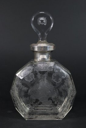 Etched Clear Glass Bohemian Decanter