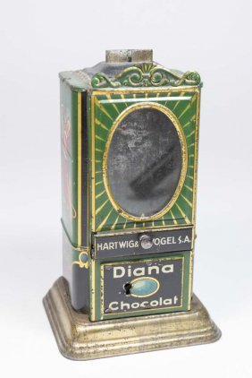 Diana Chocolat Vending Tin Mechanical Bank