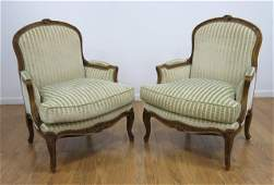 Pair Louis XV Style Walnut Stained Bergres