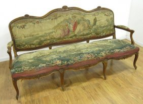 Louis Xv Style Aubusson Tapestry Walnut Canape