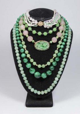 Chinese Quartz, Jade-type, & Malachite Necklaces