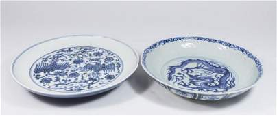 Two Blue  White Chinese Porcelain Plates