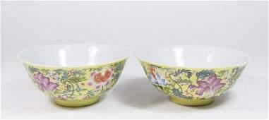 Pair Chinese Porcelain Rice Bowls