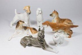 7 Russian Porcelain Dog Figurines