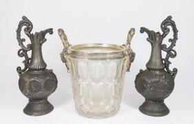 Pair Metal Ewers & Glass Ice Bucket