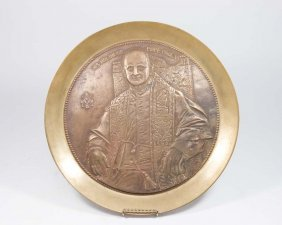 Brass Rim Bronze Plaque Of Pope Paul Vi
