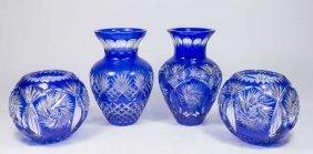 Pair Blue Cut To Clear Vases & Pair Bowls