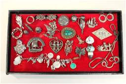 Tray Vintage Sterling Silver & Marcasite Jewelry