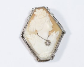 14k White Gold Cameo Brooch/pendant W. Diamond