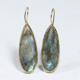 Pair 14k Yellow Gold & Labradorite Drop Earrings