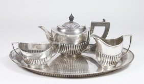 3 Pc English Sterling Silver Teaset & Matched Tray