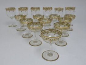 16 Gold Decorated Glasses