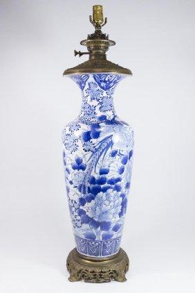 Japanese Bronze & Porcelain Blue & White Lamp