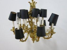 16-light Rococo Style Bronze Chandelier