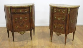 Pair Matched Demilune Commodes