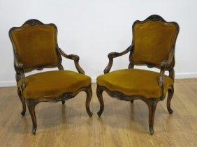 Pair Italian Carved Walnut Open Arm Chairs