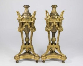 Pair Of Dore Bronze Urns Converted To Lamps Base