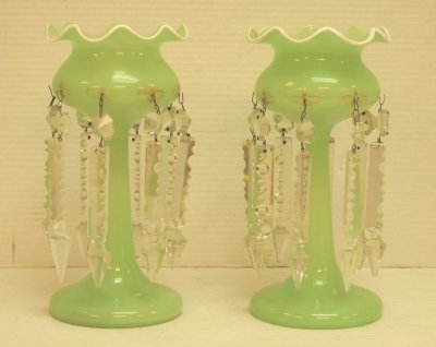 92: PAIR GREEN GLASS LUSTRES
