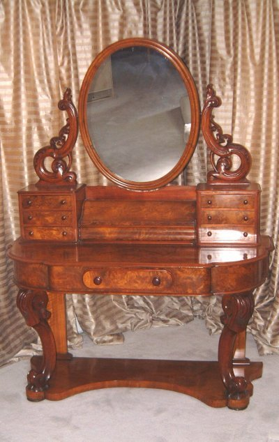 197: 19TH C. WALNUT VANITY WITH MIRROR