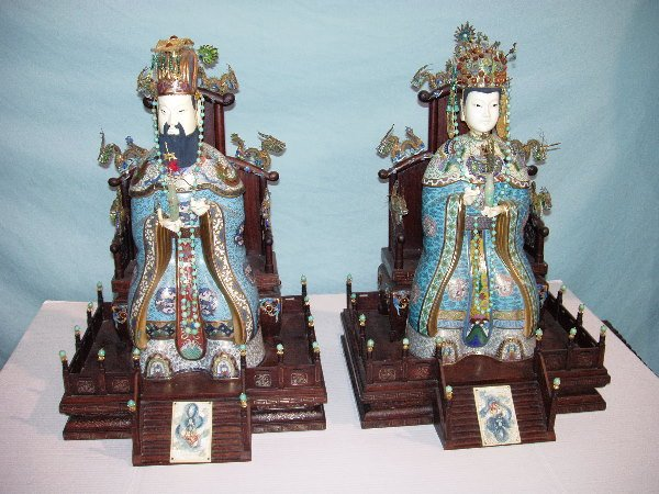 818: PAIR CLOISONNE & JEWELED FIGURES