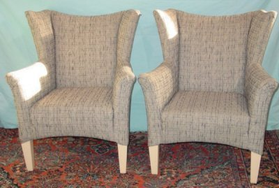855: PAIR MODERN WING CHAIRS