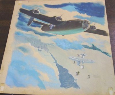 886: ILLUSTRATION OF PLANES B-24 BOMBER & CATALINA