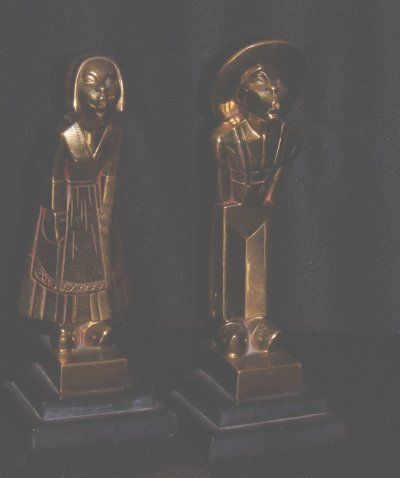 939: PAIR BRONZE & MARBLE FIGURAL BOOKENDS