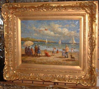 1136: OIL ON WOOD BEACH SCENE