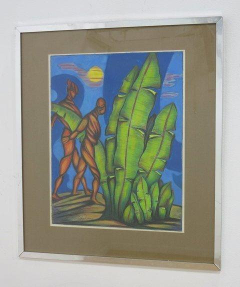 Edward Toledano, Tropical Landscape with 2 Figures