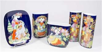 Bjorn Wiinblad, 5 Porcelain Pieces