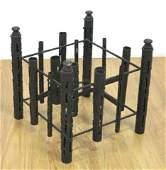 Brutalist Black Painted Metal Coffee Table