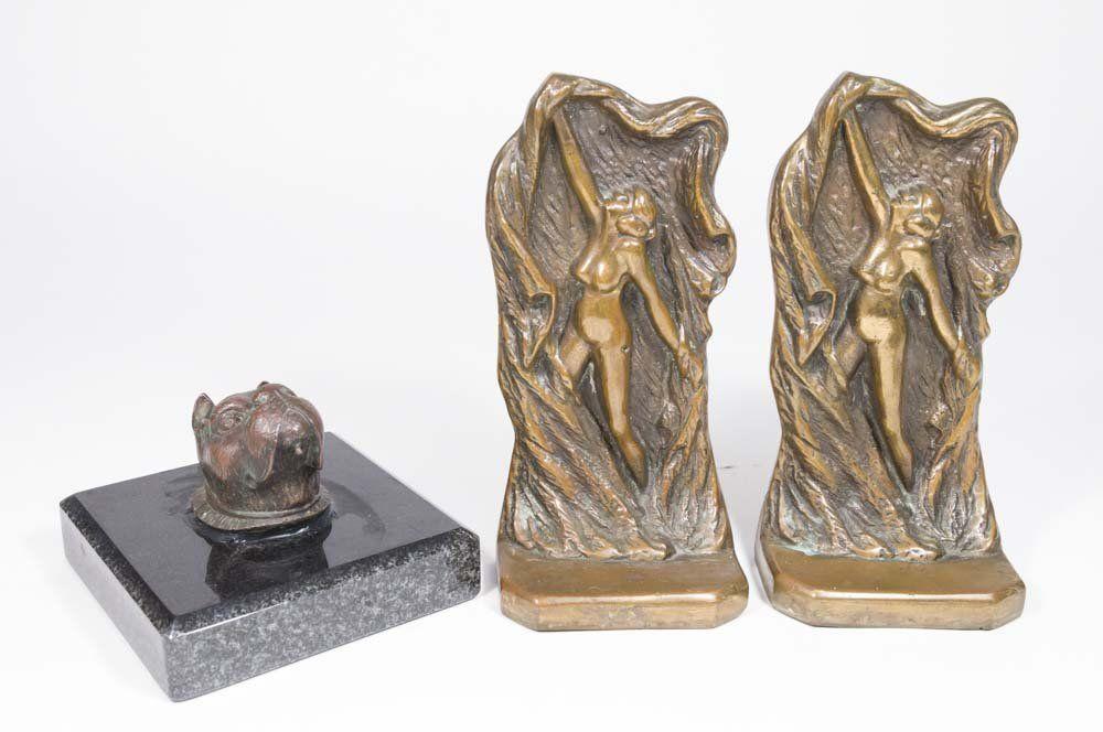 Bronze Sculpture & Pair of Figural Bookends