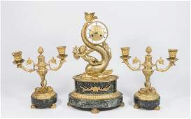 French 3 Piece Gilt Bronze  Marble Clock Set