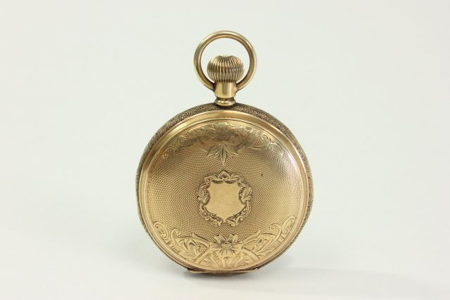 14K Gold Elgin Pocket Watch in Etched Hunter Case