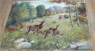 Decorative Wall Hanging Forest Landscape w Deer