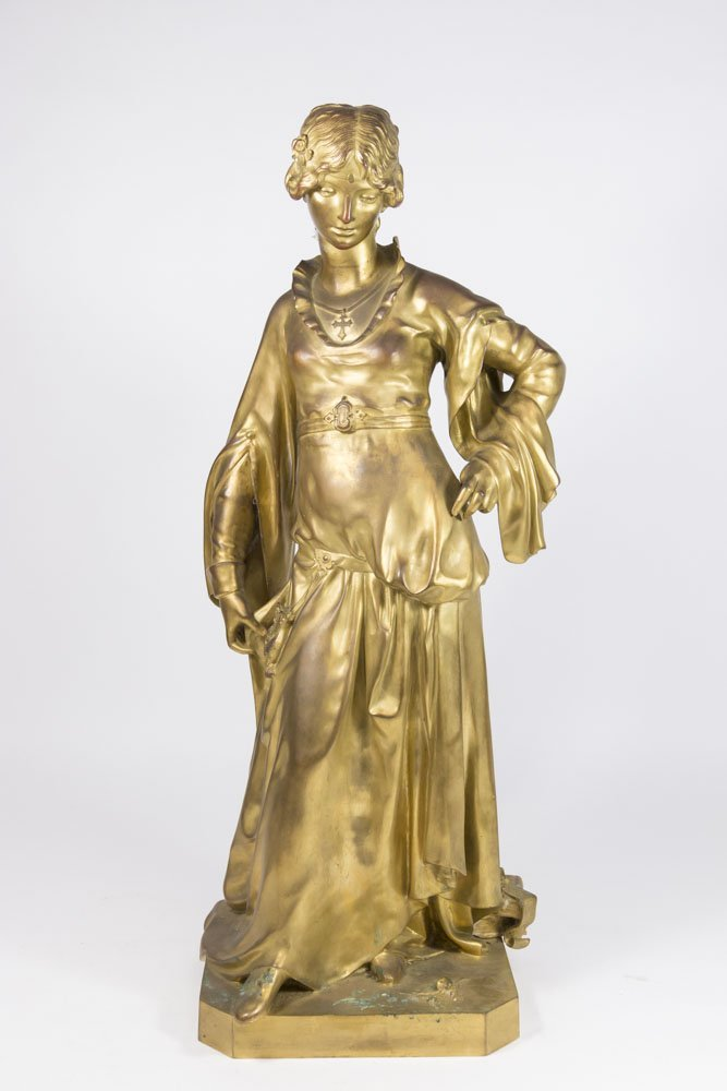 L. Morice, Gilt Bronze Sculpture of Young Lady