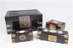 4 Chinese Wood Boxes