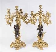 Pair Bronze Figural Cherub Candelabra