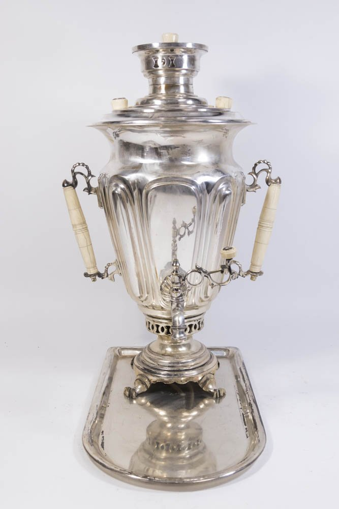 Russian Silver Plated Samovar with Tray