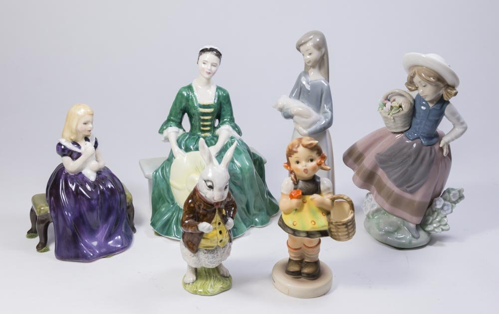 Lot of Royal Doulton, Beswick, Hummel, & Lladro
