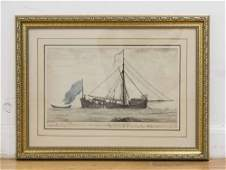 Attributed to Charles Randle, Marine Watercolor