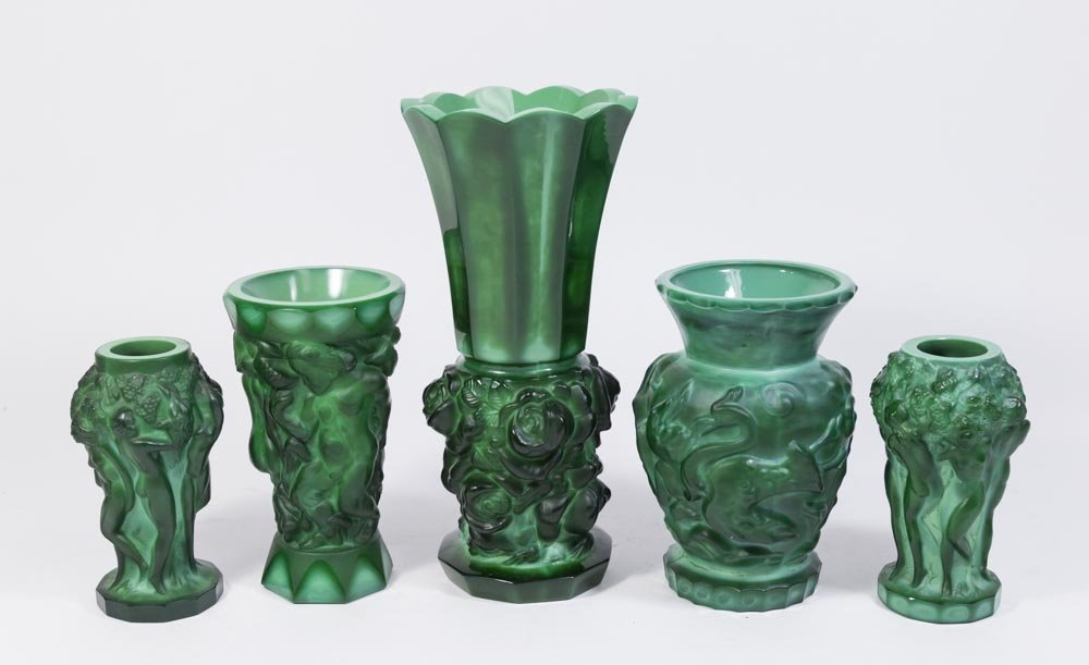 Lot of 5 Malachite Glass Vases