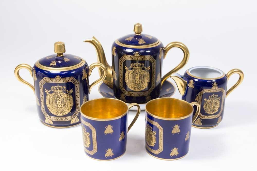 6-Piece French Sèvres Cobalt Blue & Gilded Tea Set