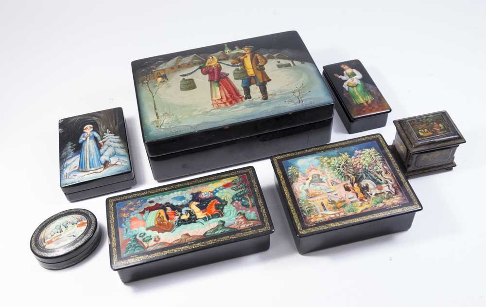 Collection of 7 Russian Hand Painted Lacquer Boxes