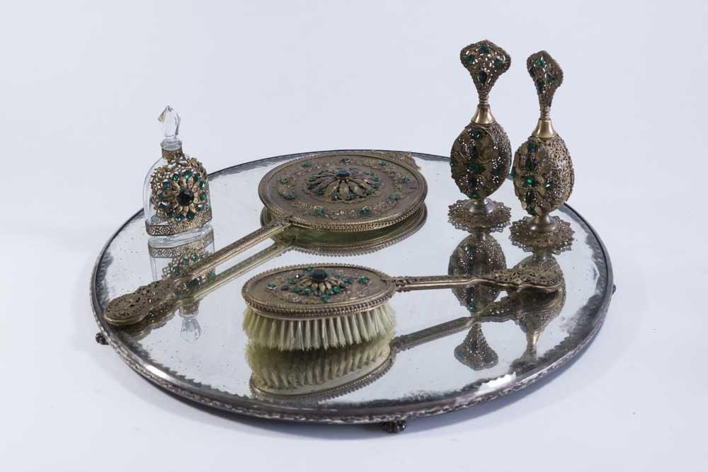 6 Piece Gilt Metal & Rhinestone Vanity Set