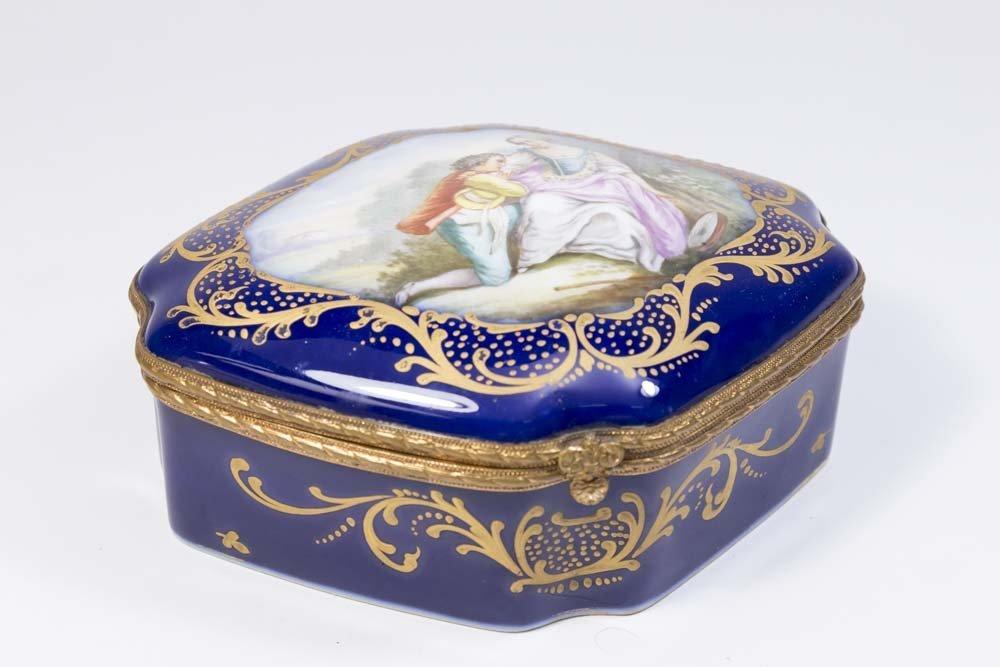 Sèvres Style Cobalt Blue Porcelain Box